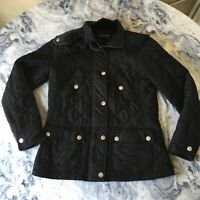 RALPH LAUREN Womens Ladies Black Quilted Diamond Jacket Corduroy Trim size Small