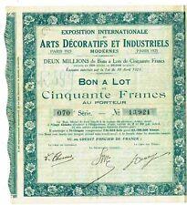 EXPO ARTS DECORATIFS 1925 - BON A LOT