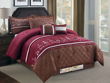 7-Pc Floral Damask Embroidery Diamond Comforter Set Queen Burgundy Brown Sliver