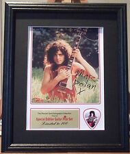 Marc Bolan T Rex Preprinted Autograph & Guitar Pick Display Mounted & Framed