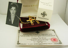 Jackie Kennedy Cabochon and Crystal Cross Pendant Necklace (w/complete pkg.)