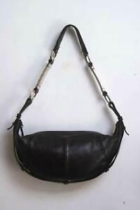 Yves Saint Laurent Rive Gauche Leather Shoulder Clutch Bag Brown Vintage