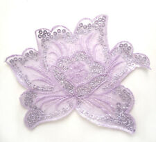 i321 Iron On Lilac+Silver Sequin Applique Flower Leaf