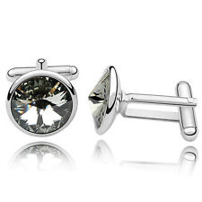 Black Diamond Crystal Cufflinks Cuff Links Dad use Genuine Swarovski Elements UK