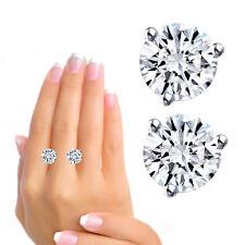 2CT BRILLIANT ROUND MOISSANITE DIAMOND STUD GORGEOUS EARRINGS 14K WHITE GOLD FN