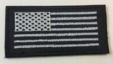 """U.S Flag Patch Silver Stripes Black Background Hook & Loop Back 4"""" X 2"""""""