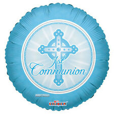 "First Communion Foil/Mylar Balloons ( 3 Balloons ) 18"" - Blue"