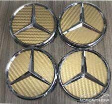 FOR MERCEDES Carbon Fibre Gold Decals Fits 75mm Wheel Centre Cap Sticker Fiber