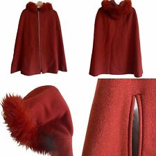 🌟Vintage Size 12 M Terracotta Red Wool Faux Fur Hooded Cape Coat Jacket Womens