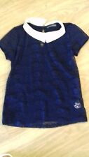BNWOT SIZE 8 BLUE LACE FRONT SHORT SLEEVE TOP