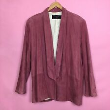 Pink Suede Boho Blazer Leather Jacket By Char & Sher Milagro Collection