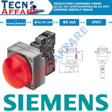 Indicatore Luminoso Verde Metallo AC 24V 80mA 1Portalampada Siemens