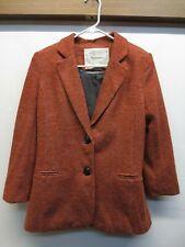 EUC Anthropologie Cartonnier Lined Rust Knit 2 Button Blazer Jacket Size Medium