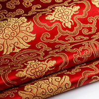 Silky Satin Fabric Embroidered Floral Brocade Oriental Soft Cloth Material US