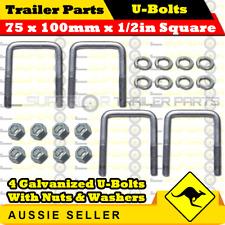 4 x U-Bolts 75mm x 100mm Square with Nuts Galvanized Trailer Box Boat Caravan