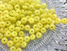 Vtg 300 YELLOW GLASS FAT RONDELLE SPACER BEADS 8MM #010816o