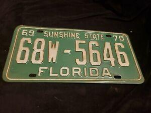 1969 1970 Florida License Plate # 68w 5846
