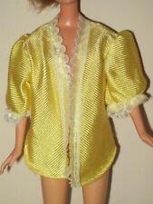 Barbie Doll Clothes Pajamas Bedtime Lingerie Yellow Shirt Top Robe Lace Trim