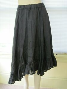CP SHADES Sz S Small Black asymmetric Linen lined Skirt Excellent condition