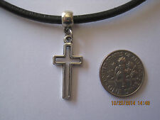Black Leather Cord Choker Necklace with cross charm adjustable lobst.clasp retro