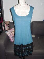 Robe bleu turquoise noire perle franges femme KOOKAI taille 44 TBE !!