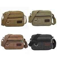 Mens Military Canvas Satchel School Multi-Layer Shoulder Messenger Crossbody Bag