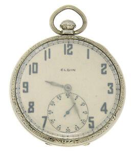 Vintage 14k White Gold Lord Elgin 451 19j 14s Pocket Watch Open Face Case 1926