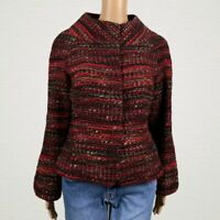 Ellen Tracy Boucle Tweed Striped Funnel Neck Suit Career Jacket SMALL Red Black