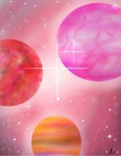 Canvas Print Abstract Realism Three Planet Space Painting