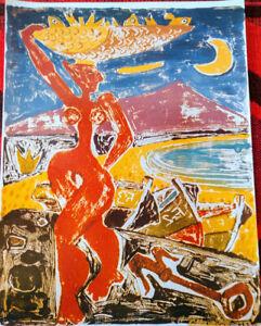 STUNNING Cesar Manrique Original 1992 Print SIGNED Fish Wife Fisherwoman No 63