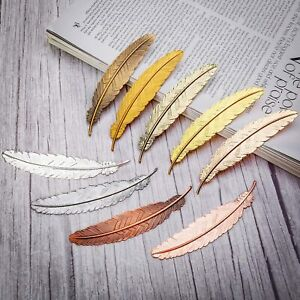 """1 Large Feather Pendant Bookmark Blank 4.5"""" Big DIY Jewelry Supplies Silver Gold"""