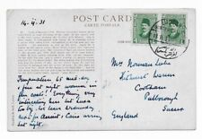 Egypt 1931 Postcard to Sussex England Winter Palace Luxor Hotel Fouad 4m Pair