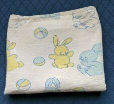 VINTAGE Hospital Receiving Baby Blanket White Blue Bunny Rabbits Flannel VGUC