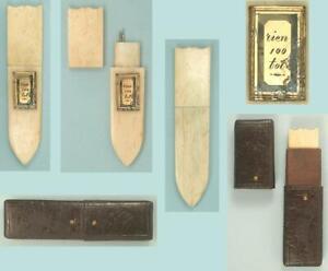 Rare Antique Carved Bone Needle Case w/ Romantic Message in Case * Circa 1810