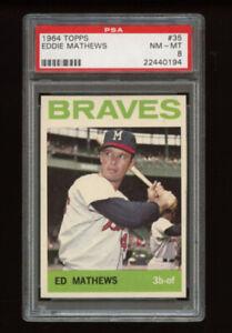 1964 Topps Set Break # 35 - Eddie Mathews PSA 8 NM-MT