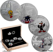 Canada 2015 $20 Fine Silver 4-Coin Set Looney Tunes includes Free Watch!