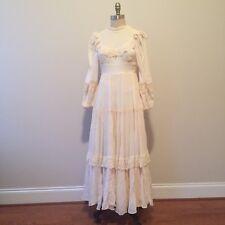 Vintage 70's Gunne Sax White Cotton Maxi Long Dress Halloween Bride Wedding Sz 5