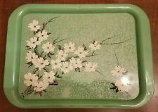 6 Vintage Metal Tv Snack Tray Mint Green, Silver, Black & White Dogwood Flower