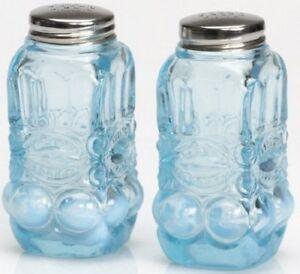 Salt & Pepper Shaker Set - Eyewinker - Aqua Blue Opalescent Glass - Mosser USA