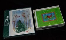 Christmas Greeting Cards REDBIRD CARDINAL 18 Embossed Petites & 15 Outdoor