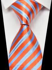 Hot! New Classic Striped Orange Blue 100% Silk Men's Fashion Necktie 3.15''(8CM)