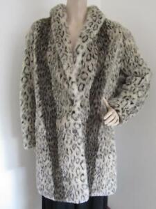Vintage Ladies Faux Fur Coat Jacket Size 12