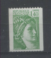 FRANCE TIMBRE ROULETTE 2157a N° rouge au verso SABINE vert clair - LUXE **