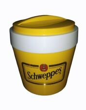 More details for vintage stewart retro 1980s yellow schweppes round ice bucket - made in england