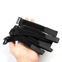 20pcs Nylon Fishing Rod Tie Holder Strap Suspenders Fastener Loop Belts Black