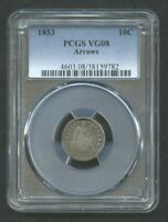1853 Seated Liberty Dime (Arrows) Graded VG 08 by PCGS~FREE GIFT!~