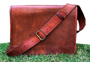 "13""Men's Vintage Brown Leather Full Flap Messenger Rare Satchel Shoulder Bag"