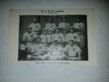 Falls City Colts Bill Kemmer Ray Miller 1910 Baseball Team Picture