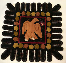 "PRIMITIVE PENNY RUG RUNNER. ""MILLENNIUM EAGLE"".   15"" by 15"".   JUST BEAUTIFUL!"