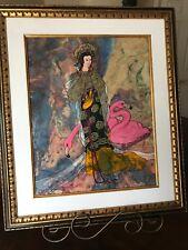 """Original Oriental  Oil Painting Geisha w/ Flamingo Glazed-Oil 27""""x 23"""" Friedman"""